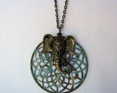 Unique Elephant and Vintage Patina Medallion Layering Necklace - Handmade One of a Kind Jewelry - Bohemian OOAK Jewelry - Boho Vintage