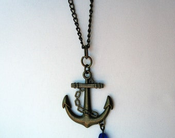 Antique Brass Necklace with Anchor Charm and Blue Glass Bead - Handmade - Nautical - Sailor - Bohemian Jewelry - Boho
