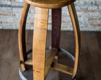 Wine Barrel Counter Stool, Natural Finish