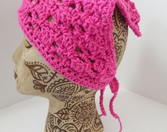 Bright Pink Neck Kerchief, Tie On Bonnet, USA Grown Cotton Summer CLEARANCE EVENT