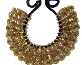 Vintage 1930s-Stunning DECO FAN COLLAR Necklace-Gold Bead-Sparkle Detail-Beautifully Handcrafted-Velvet Neck Tie-Lightweight-One of a Kind