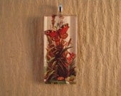 30% OFF Rust Butterfly Floral Large Rectangle Glass Pendant
