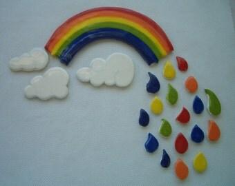 SPCM - COOL Dripping RAINBOW . . .  Ceramic Mosaic Tiles