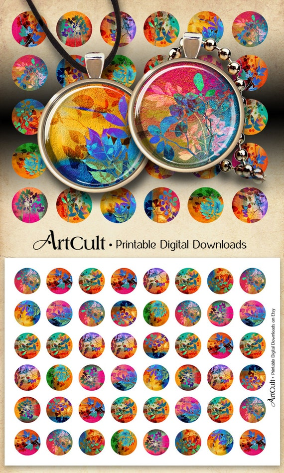 1 inch (25mm) and 1.5 inch Circle Images SUMMER PROMISES Digital Collage Sheets Printable Download for pendants, magnets bezel trays