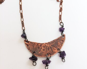 Etched Copper Crescent Moon Necklace - Free Domestic Shipping