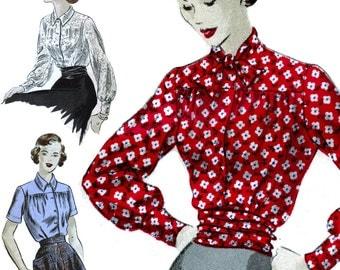 Stunning '40s Blouse! Vintage c. 1948 Vogue Sewing Pattern 6625, Misses' Blouse and Cummerbund, Size 16, Uncut w/ Factory Folds