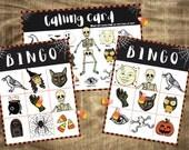 Printable Halloween Bingo game Vintage Retro style Halloween illustrations Class activity fun kids party activity easy bingo game