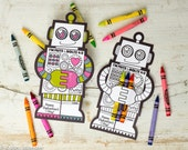 Robot Coloring Valentine with crayon holder. Cute unique non candy robot printable DIY valentines crayons cards classroom activity craft