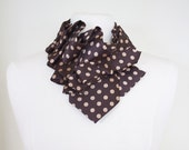 Aster Ruffle Necktie Scarf - Brown and Taupe Polkadot Cute Dandy Couture