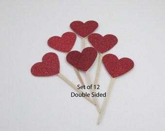 Glittered Heart CupCake Topper Birthday Valentine's Day Bridal Shower Wedding