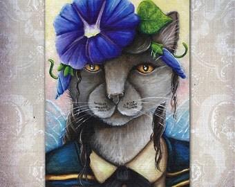 Morning Glory Cat Fairy Fantasy Flower Art 5x7 Fine Art Print