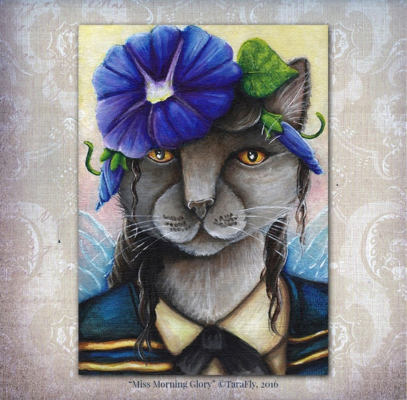 Morning Glory Cat Fairy Fantasy Flower Art 5x7 Fine Art Print