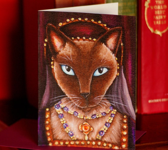 Tudor Cat Card, Catherine Howard Siamese Cat 5x7 Greeting Card