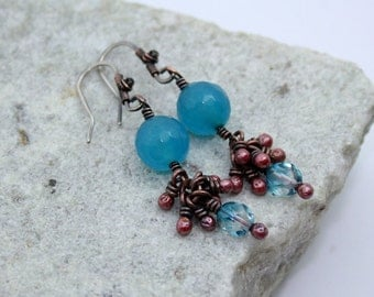 Aqua Blue Cluster Drop Earrings, Antique Copper, Wire Wrapped, Handmade, Sterling Silver Earwires