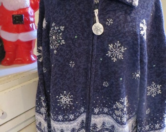 Ugly Christmas Sweater - Snowflake Delight - Heather Blue Cardigan - Sz XL or 1X - Same Day Shipping - Unisex - Ugly Sweater Party - Tacky