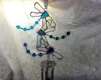 Dragonfly Wind chime in Stained Glass