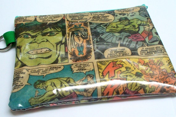 Recycled Comic Coin Pouch, Upcycled Incredible Hulk comic has been repurposed into a SWEET usable key ring coin pouch