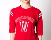 The Vintage Big Red Wisconsin Cotton Baseball Jersey Shirt