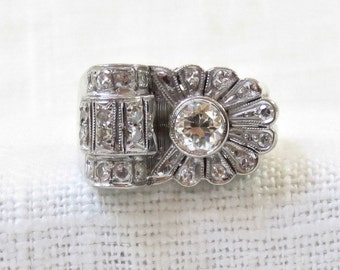 Stunning Art Deco Platinum and Diamond Engagement or Right Hand Ring