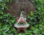 Hand Built Ceramic Toad House Fairy Tale Art Fairy Garden Sculpture Decoration Gardener Gift outdoor ornament Claysoul woman's gift