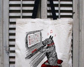 tote bag canvas - dog tote - music tote bag - music teacher gift - scottie dog purse - book bag - book tote -dog gifts -NOTEWORTHY -tote bag