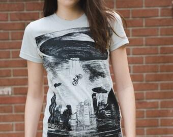 UFO Bicycle Tee- Womens T Shirt, Ladies Tee, Tri Blend Tee, Handmade graphic tee, sizes s-xL