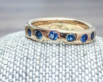 Blue Sapphire Ring, 14K Gold Sapphire Wedding Ring, Seven Sapphire Ring, Sapphire Wedding Band, Wedding Ring