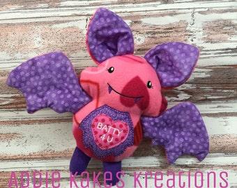Valentine's Day Bat / Batty For You / Stuffed Animal / Valentine's Day Gift / Valentine Bat / Plush Bat / Stuffed Bat / Soft Bat / Bat Toy
