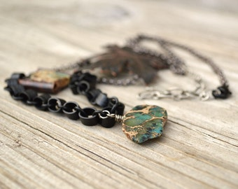 Statement Pendant Necklace Blue Stone Leaf Mixed Metal