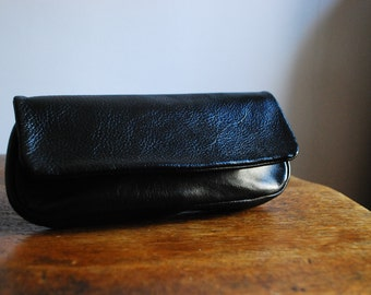 Itty Bitty Vintage Pebbled Black Leather Clutch or Makeup Bag