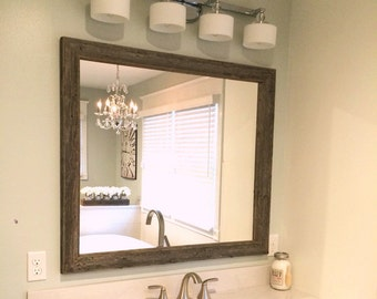 Rustic Reclaimed Wood Mirror - Home Decor - Bathroom or Bedroom Mirrors