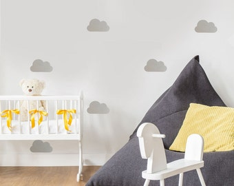 Wall Decals Clouds 25 Metallic Gold, Silver, or White Nursery Clouds Vinyl Wall Decals, Peel and Stick Removable Wall Decal Sticker
