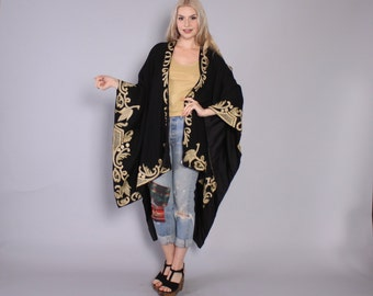 Vintage 70s Boho CAPE / 1970s Soft Black Wool Metallic Gold Beaded & Embroidered Ruana