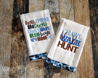 Bucks, Trucks and Ducks are What Little Boys Are Made Of  - Personalized Hunting Burp Cloth Set