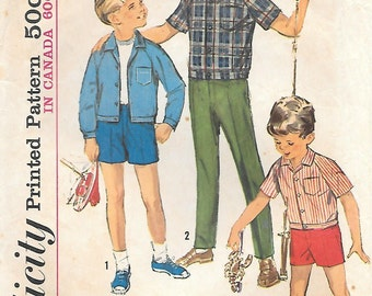 Simplicity 5481 1960s Boys Pants, Shorts and Shirt-Jacket Vintage Sewing Pattern Size 6 Chest 24