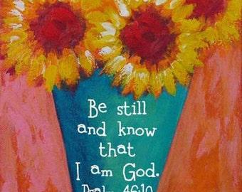 Sunflowers Bible Verse Print Christian Gift Psalm 46:10 Turquoise Yellow Pink