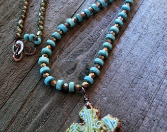 Swirly Ceramic Cross Pendant with Hand Strung Turquoise Beaded Necklace - Boho - Gypsy Style -