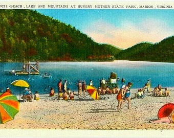 Vintage Virginia Postcard - Beachgoers at the Lake, Hungry Mother State Park (Unused)