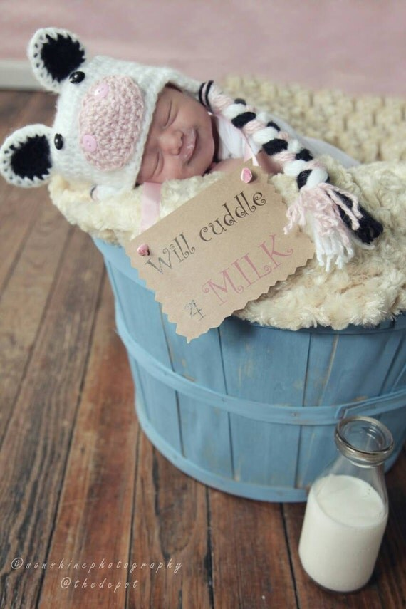 Baby Cow Hat, Baby Calf Hat, Baby Girl Newborn Hat, Baby Boy Newborn Hat, Baby Farm Hat, Farm Animal Hat, Baby Shower Gift Cow Hat