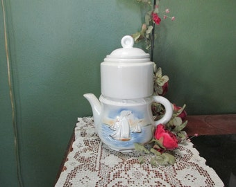 Porcelain Coffee Pot 4 Pieces Nautical Dripolator