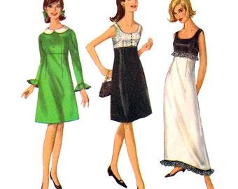 1960s Vintage Sewing Pattern Empire Dress Simplicity 6216 Maxi Dress Ruffles & Detachable Collars Preppy Dress Junior Size 9 or 11 UNCUT