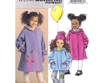Girls Spring Jacket or Coat Pattern Butterick 4908 Flared Hooded Coat Unlined A-Line Jacket Pockets Girls Sewing Pattern Size 2 3 4 5 UNCUT