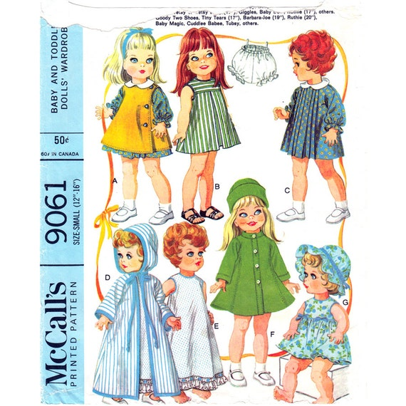 Doll Clothes Pattern Mccalls 9061 Dress Pinafore Robe Nightie