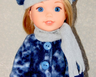 """Jacket Hat Scarf for 14"""" Wellie Wishers or Melissa & Doug Doll Clothes blue-grey tkct948"""
