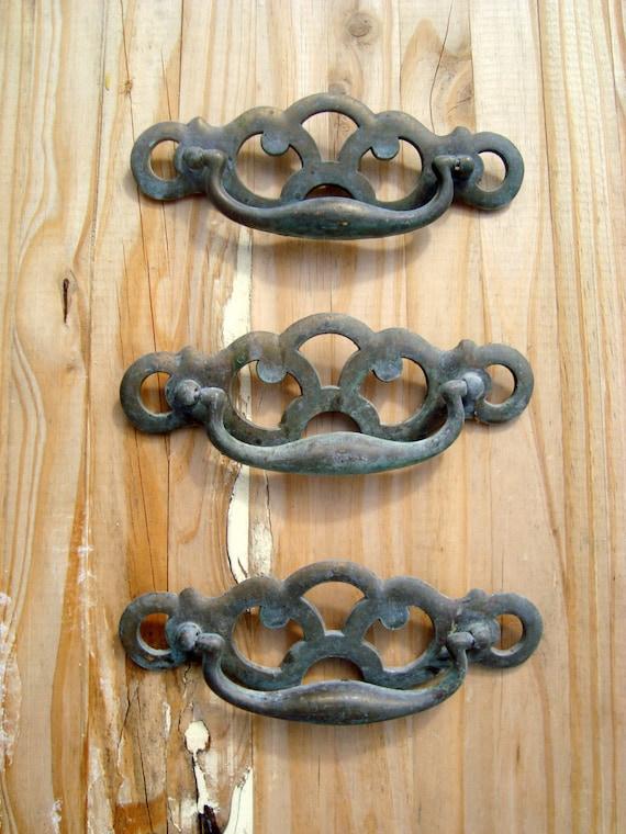 vintage verdigris brass drawer pulls set of 3 made in canada. Black Bedroom Furniture Sets. Home Design Ideas