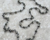 Pyrite Necklace - Delicate Layering Bling - Wire-Wrapped with Oxidized Sterling Silver - Rosary Style  - Sparks by SplendorVendor