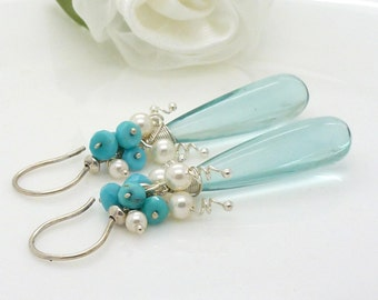 Long aqua teardrop earrings, Sterling Silver, aqua quartz, turquoise with white pearl clusters
