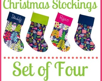 Personalized Christmas Stocking Set of Four | Embroidery Available | 40 Fabrics