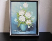 Vintage White Rose Painting by Robert Cox signed Still Life