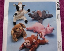 1997 McCAlls pattern 626 Bean BAg Animals uncut